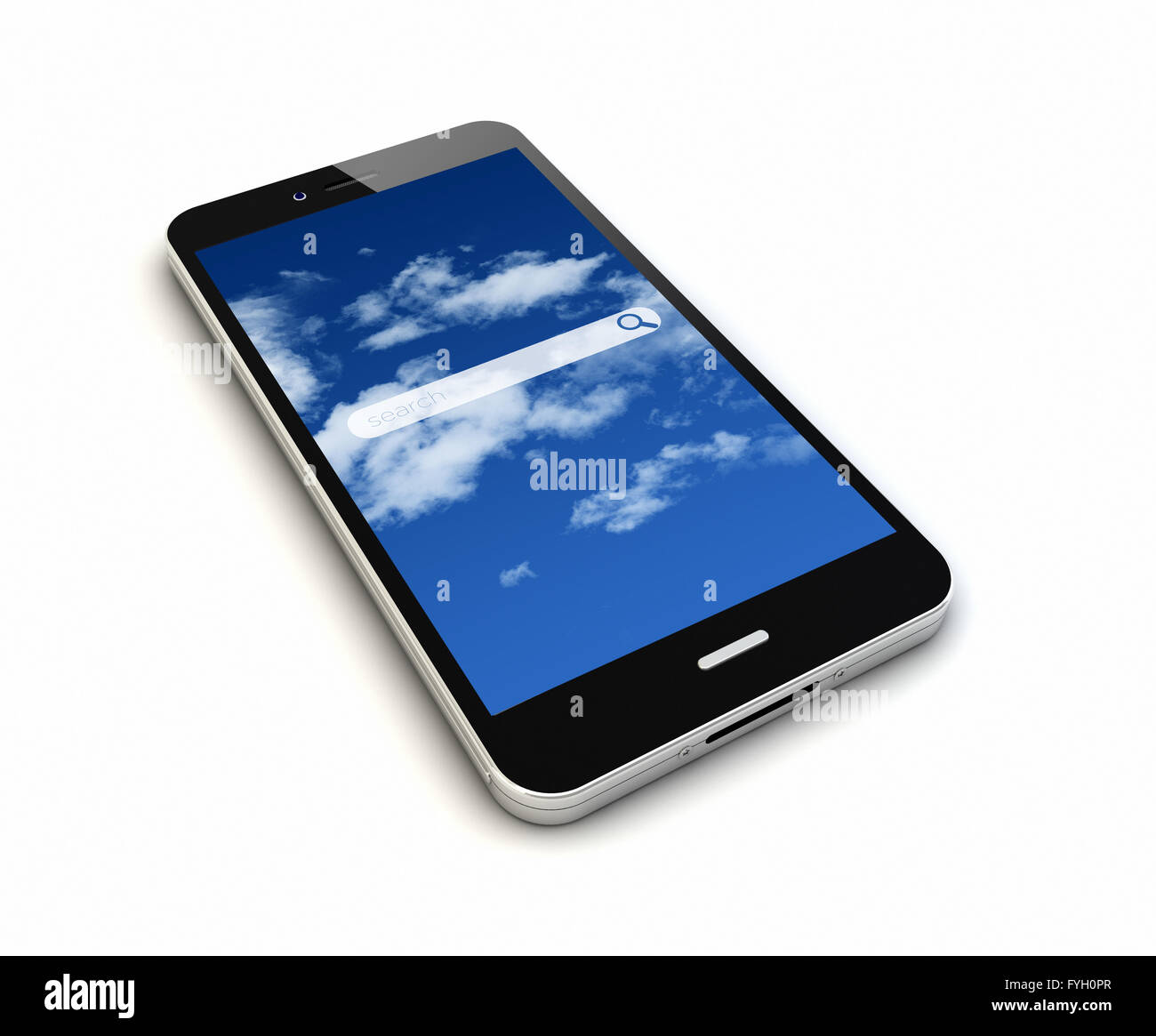 render of an original smartphone with online search application on the screen - Stock Image