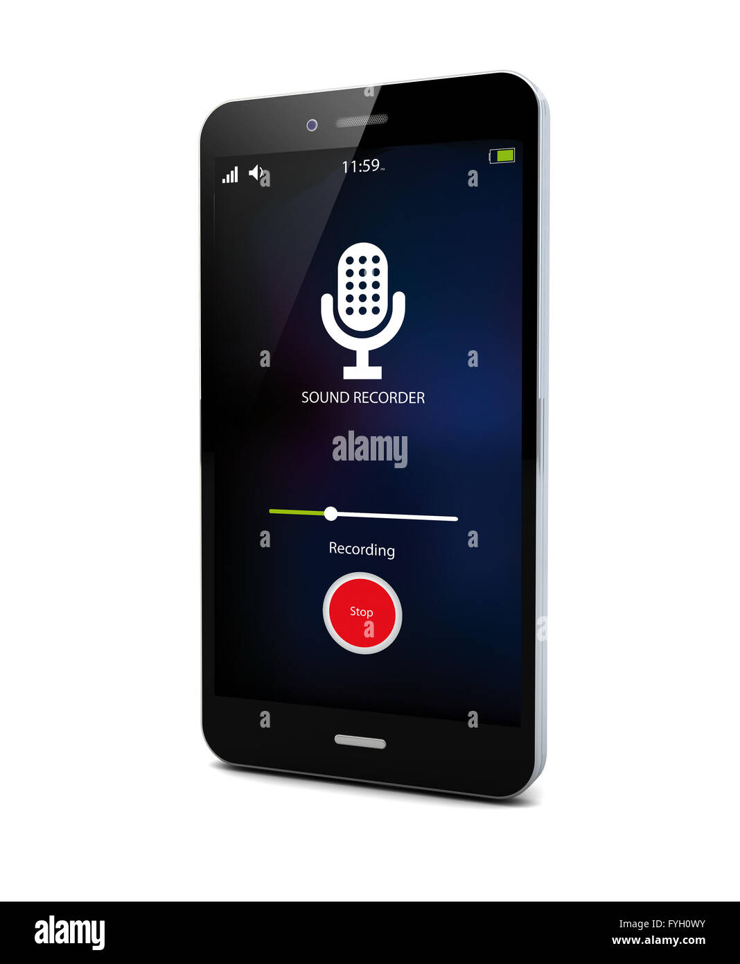 spy concept: sound recorder app on a smartphone - Stock Image