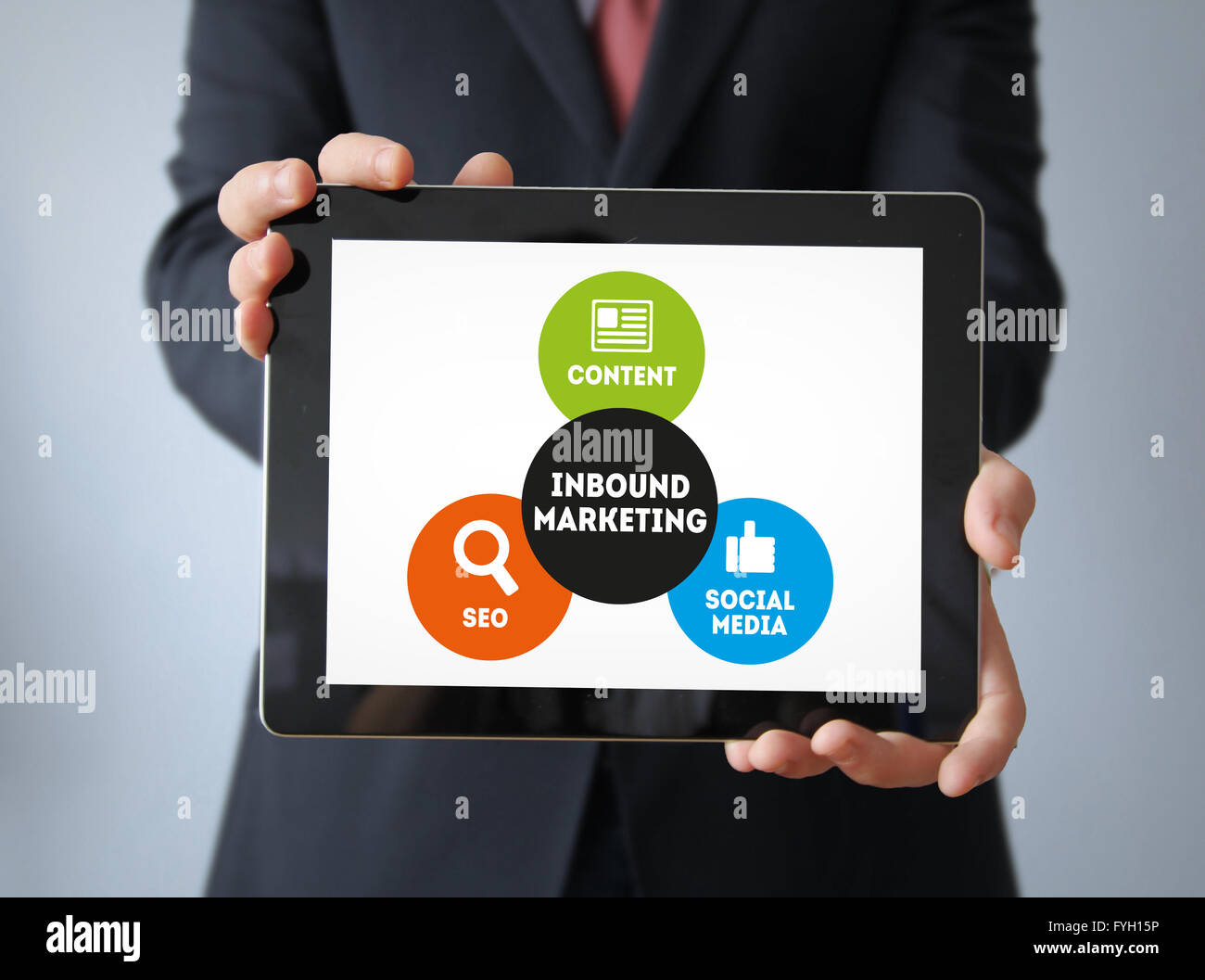 Commercial Concept: Businessman with Inbound marketing scheme on the screen. All graphics are made up. - Stock Image