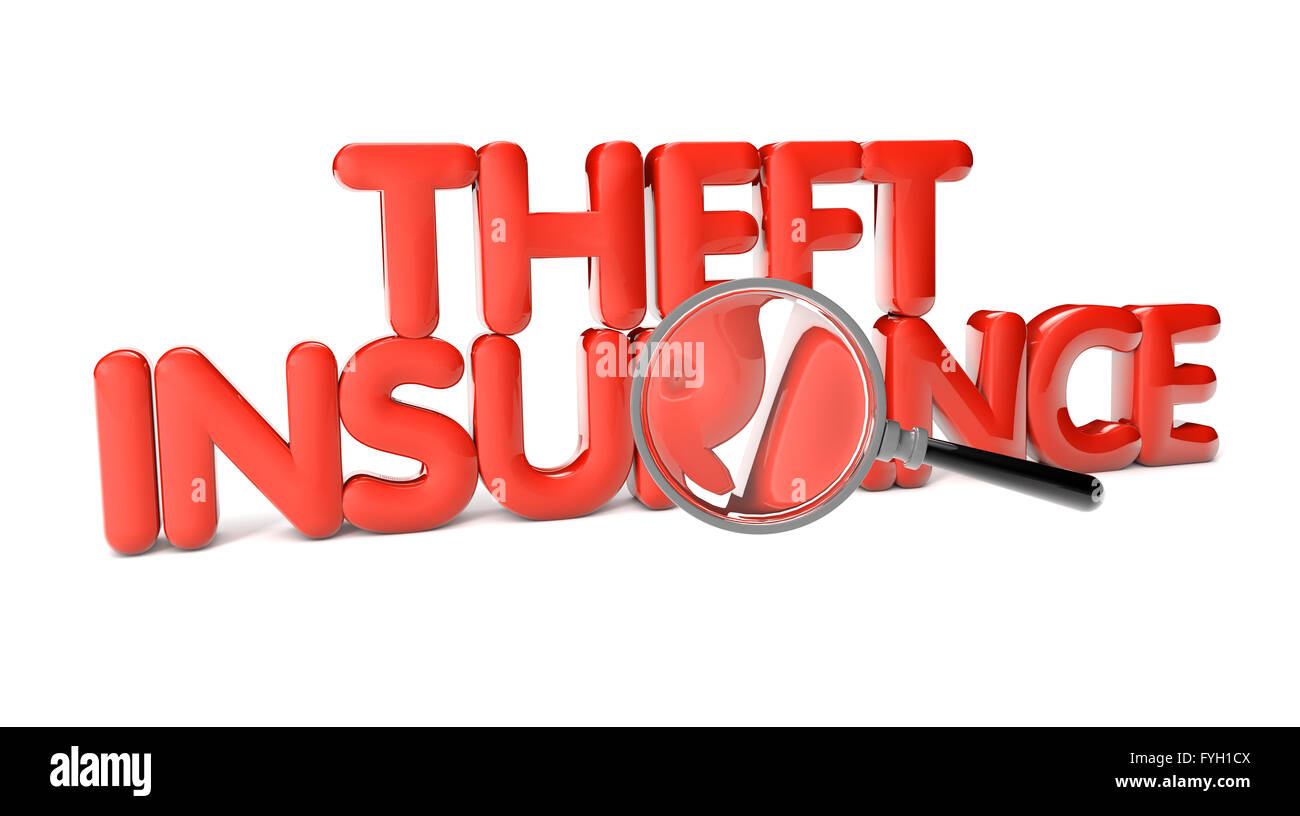 theft insurance text isolated on white background Stock Photo