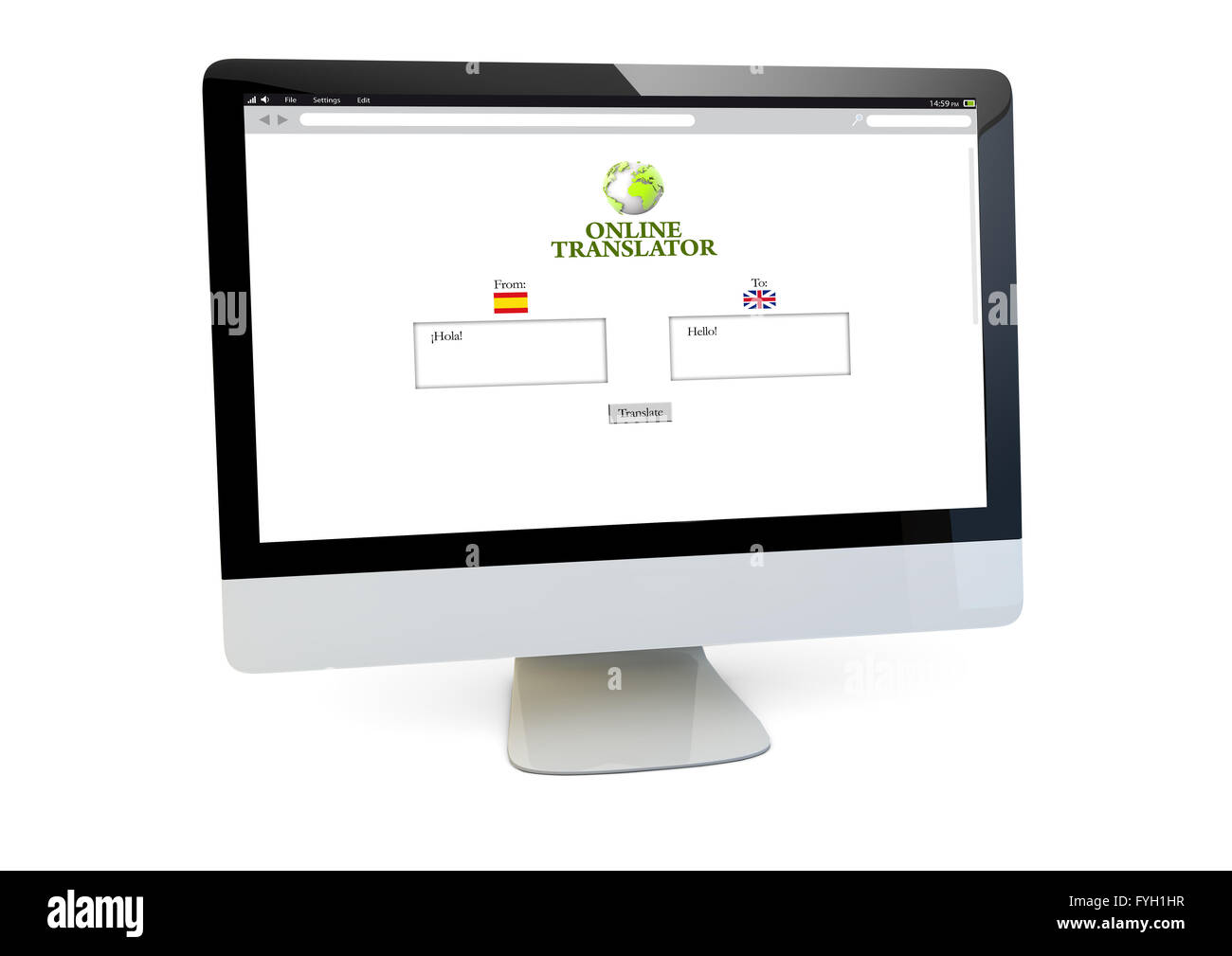 modern translation online concept: render of a computer with