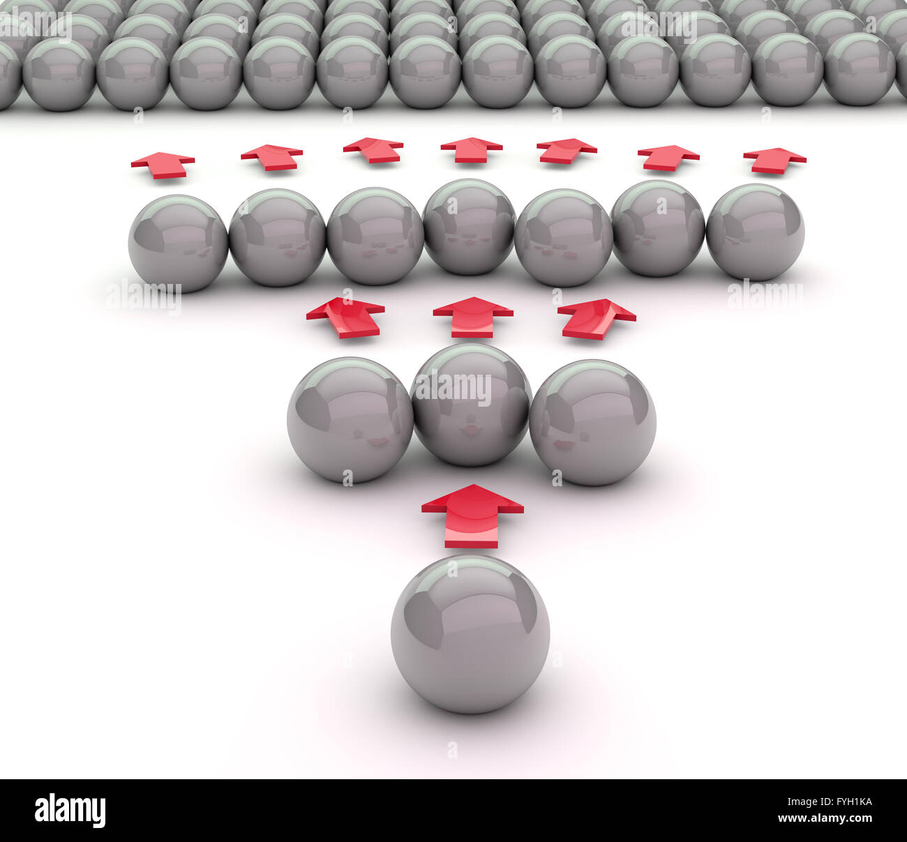 viral marketing concept. 3D illustration made with metal balls. - Stock Image