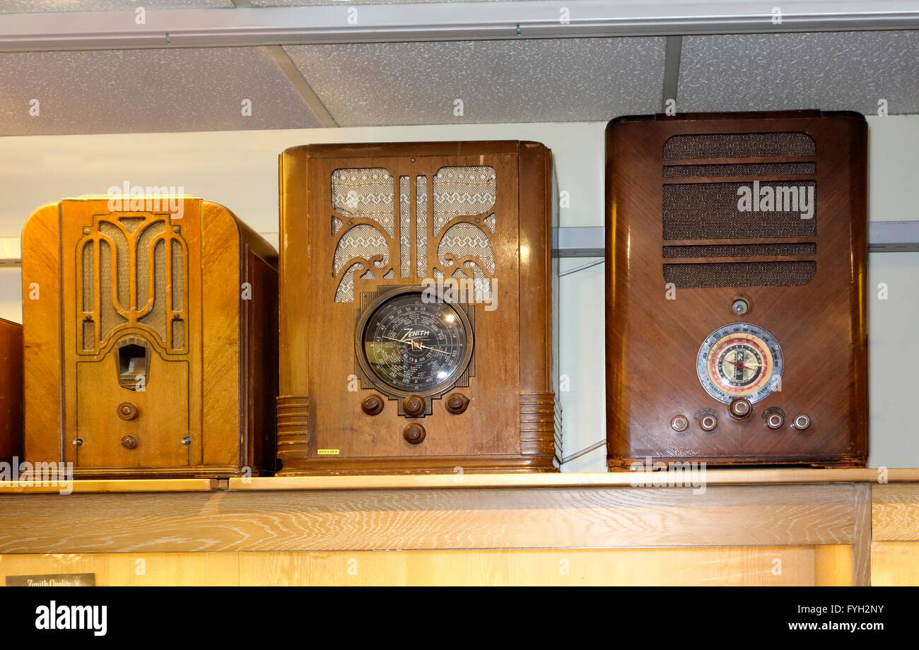 3 old radio receivers from 1930es - Stock Image