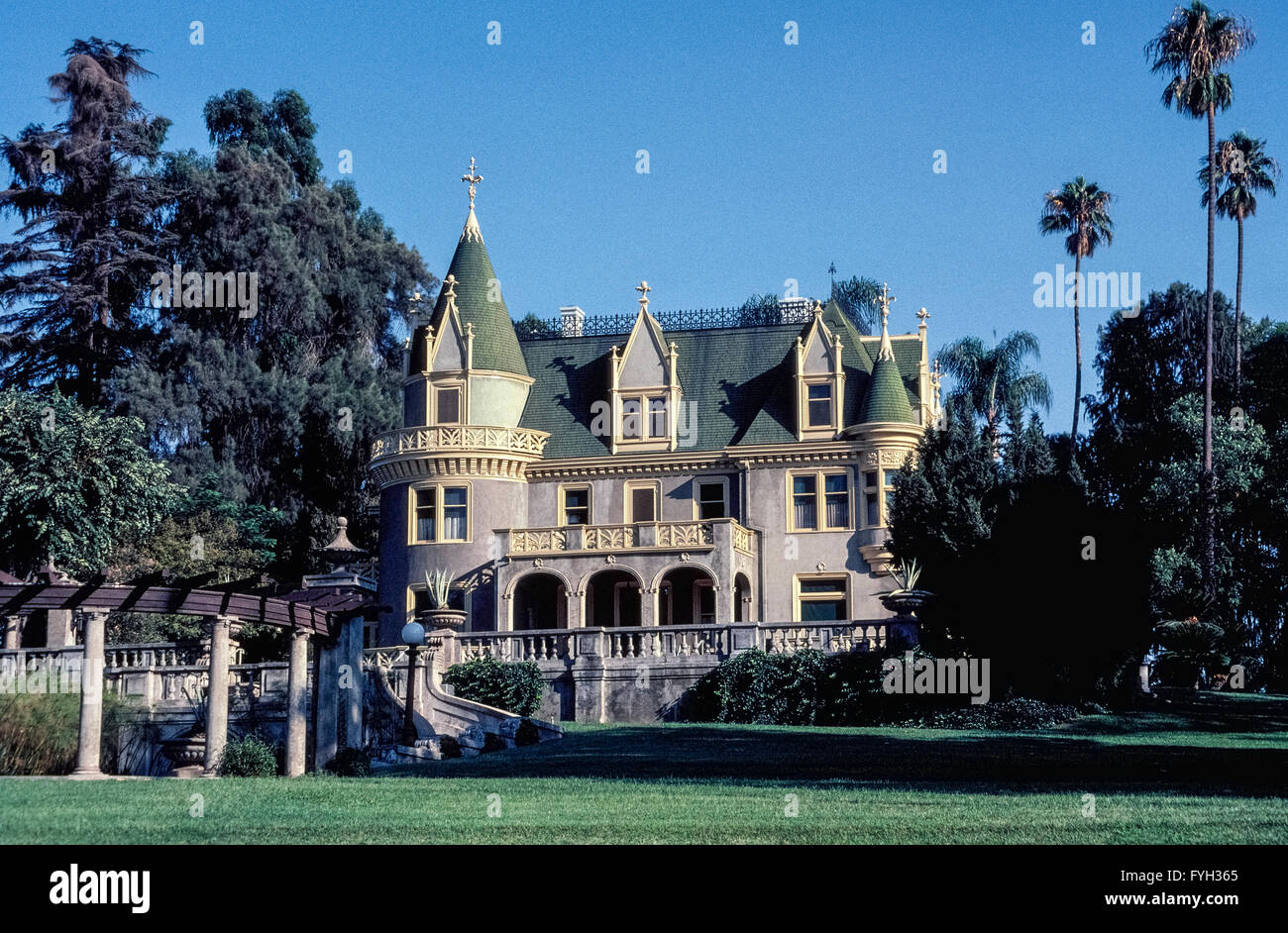 A wealthy widow from New York State had this three-story French chateau-style mansion built in 1897 in Redlands, - Stock Image