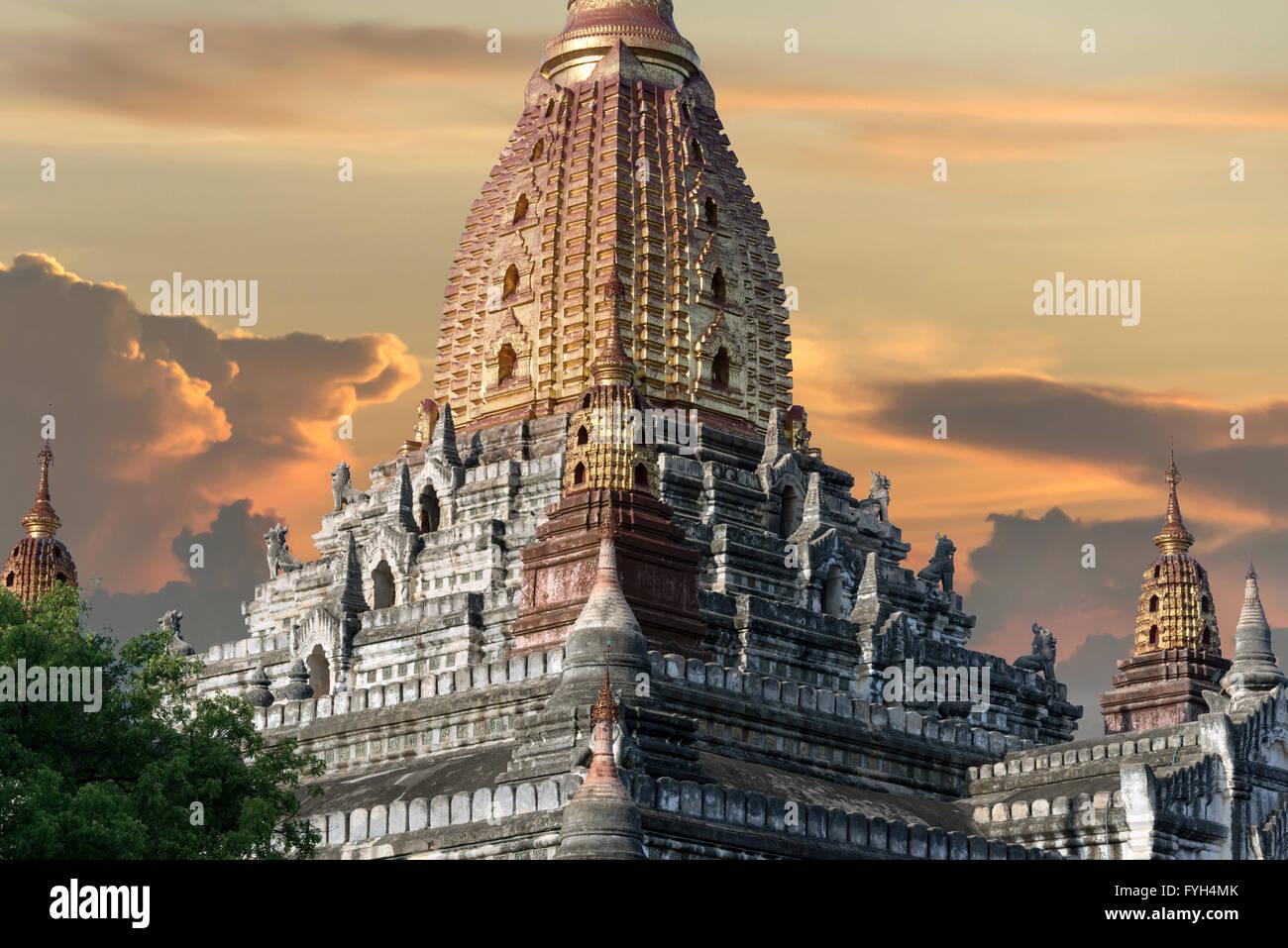 Ananda temple at sunset, Old Bagan, Myanmar - Stock Image