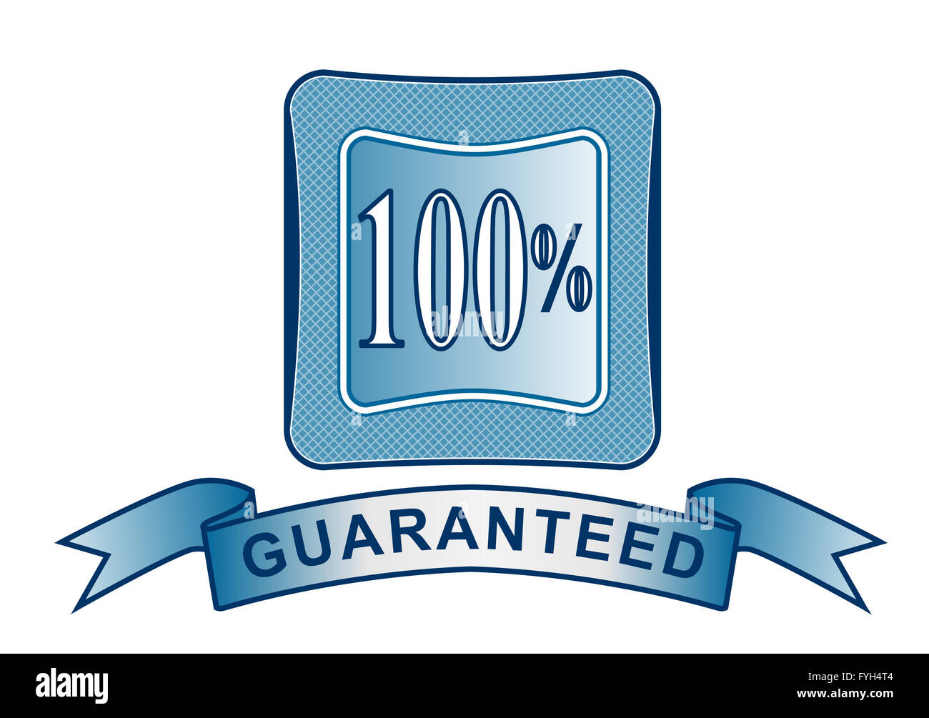 100% Satisfaction Guaranteed in Shield - Stock Image