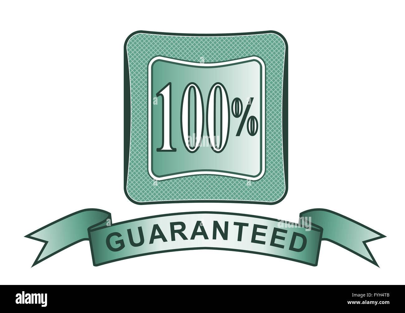 100% Satisfaction Guaranteed in Shield - Stock Image