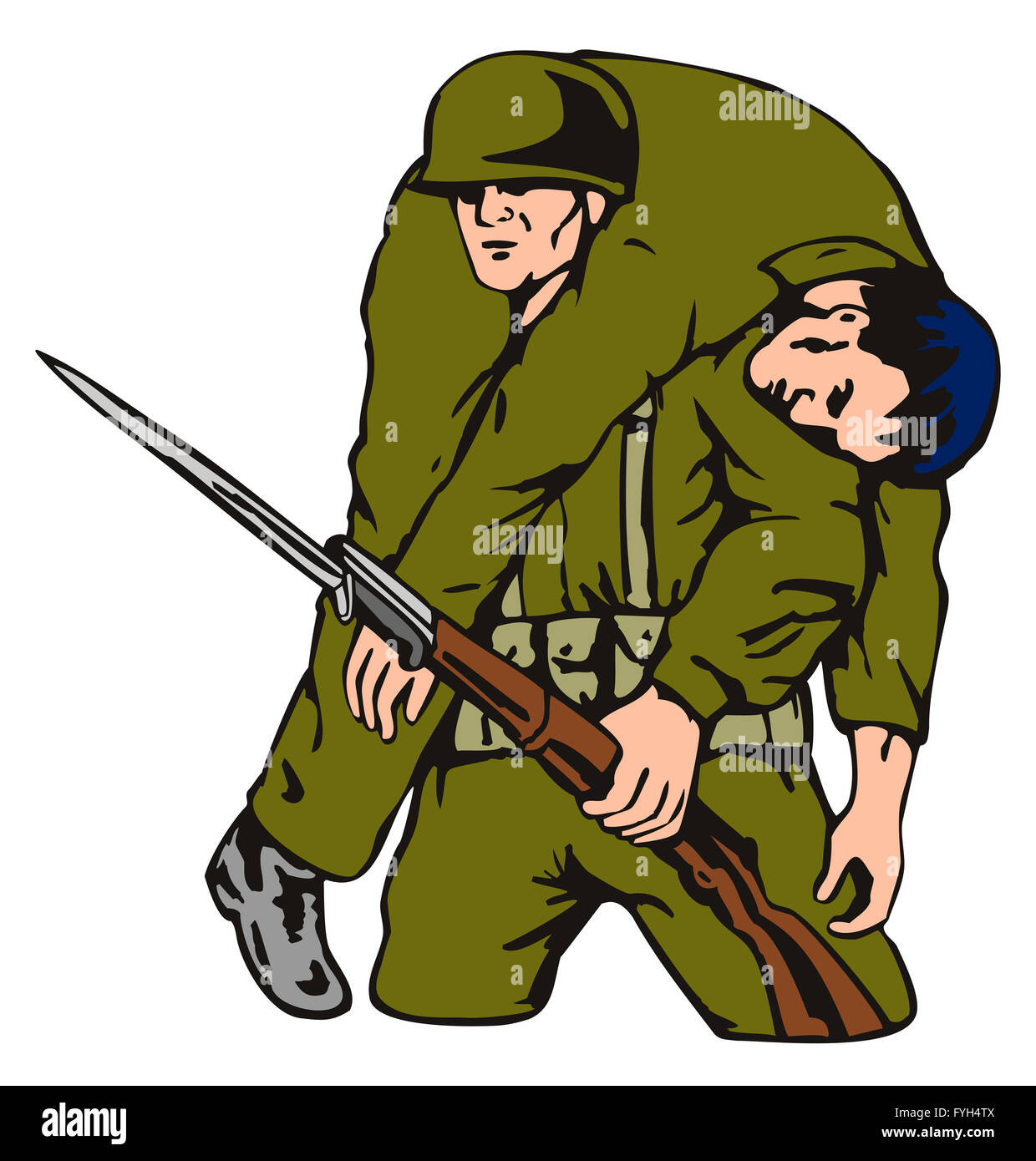 Soldier Carrying Wounded Comrade Stock Photos & Soldier