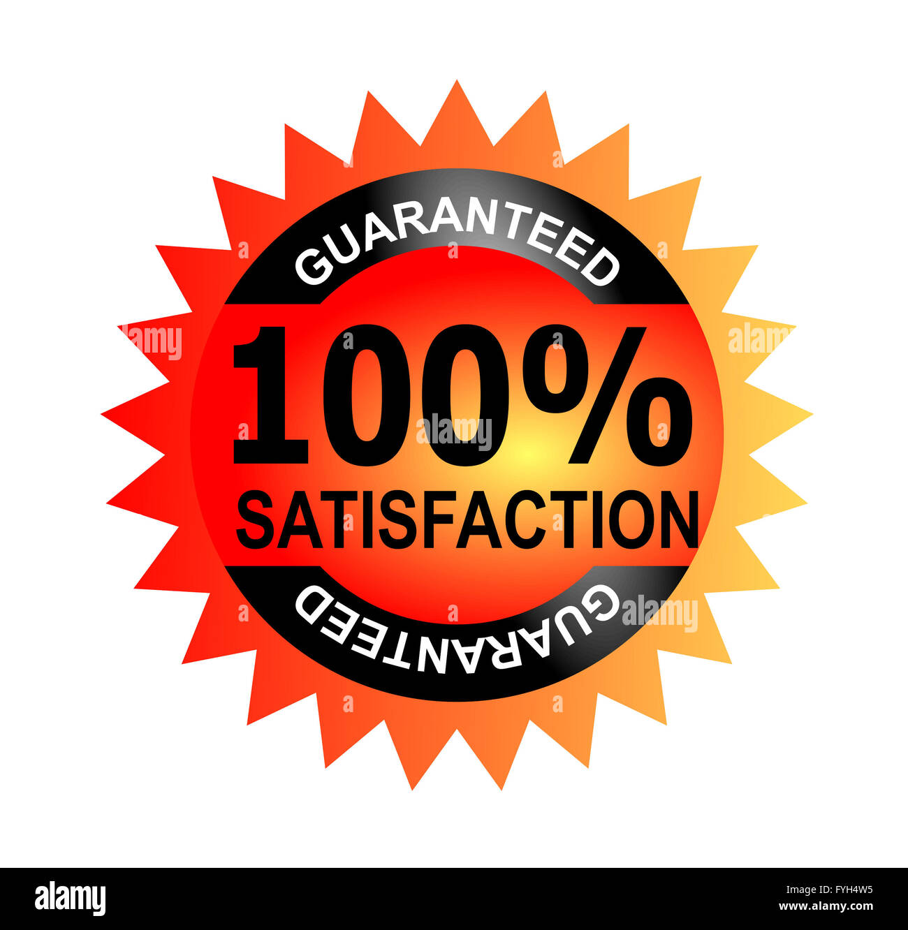 100% Satisfaction Guaranteed Black Seal - Stock Image