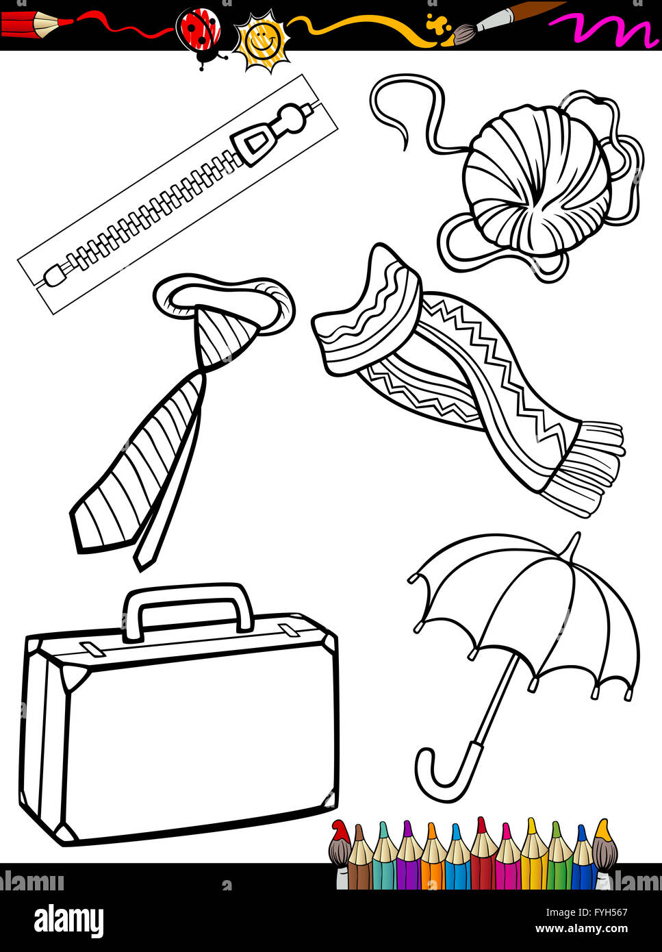 cartoon objects coloring page - Stock Image
