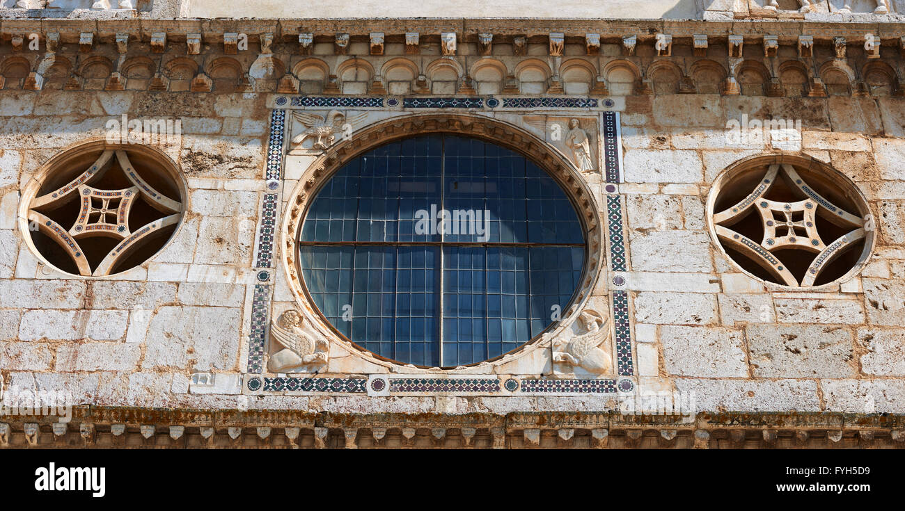 12th century Romanesque facade of the Chiesa di San Pietro extra moenia (St Peters), Spoleto, Italy - Stock Image