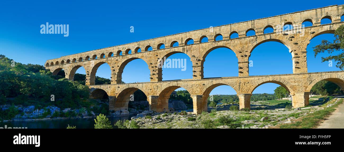 Picture of the ancient Roman Aqueduct of the Pont du Gard which crosses the River Gardon near Vers-Pon-du-Gard, Stock Photo