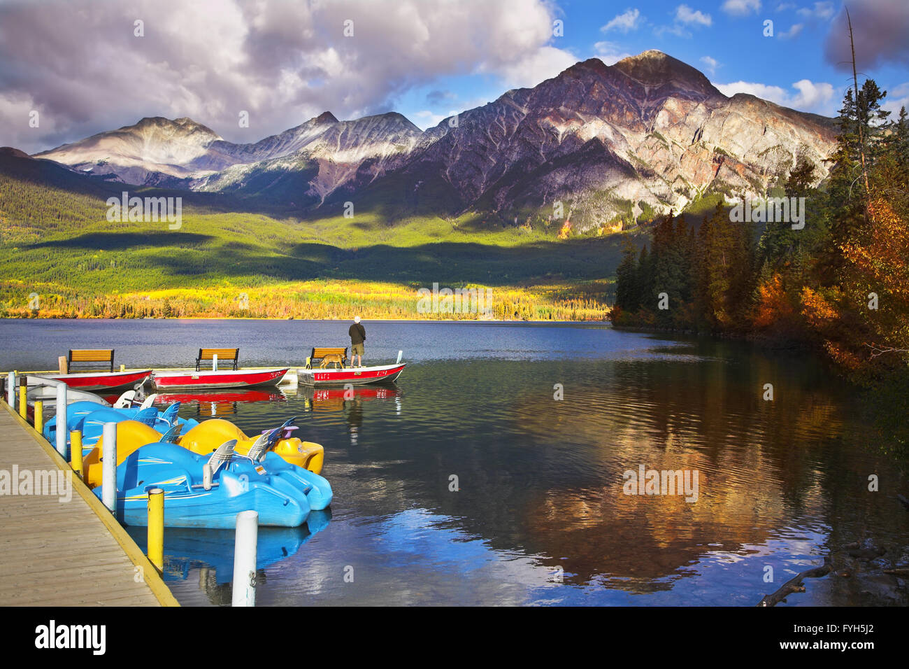Magnificent morning on Pyramid lake in Canada Stock Photo: 103025162