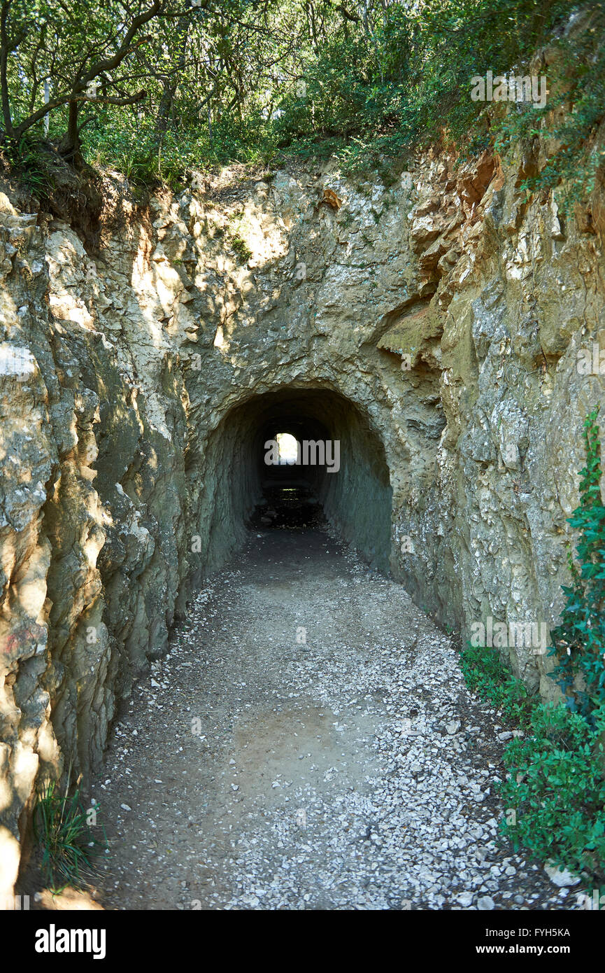 Water tunnel of the ancient Roman Aqueduct of the Pont du Gard which crosses the River Gardon near Vers-Pon-du-Ga Stock Photo