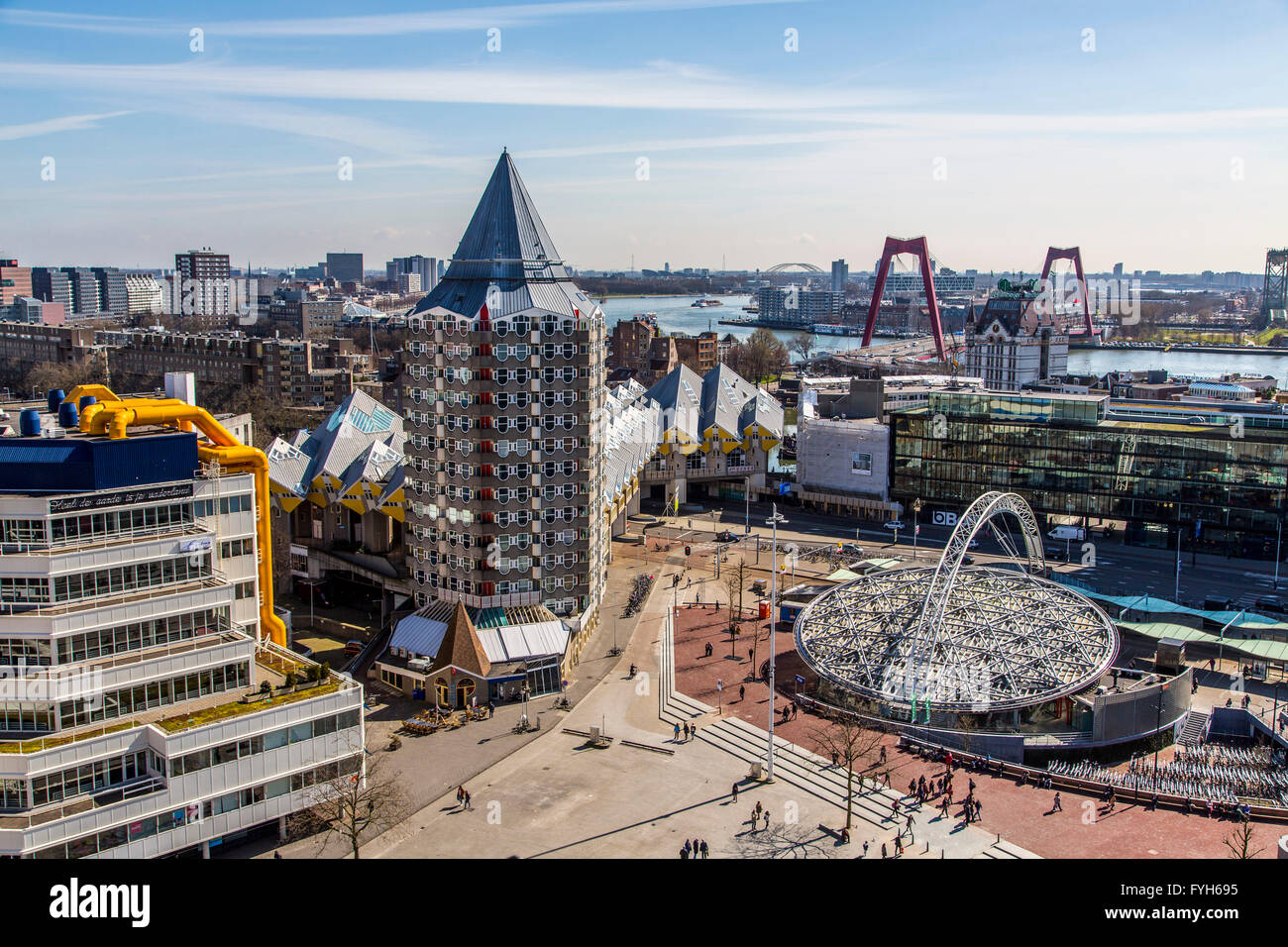Downtown, skyline of Rotterdam, Blaak square cube residential buildings, and Kijk Kubus  houses in cube shape, Netherlands, Stock Photo