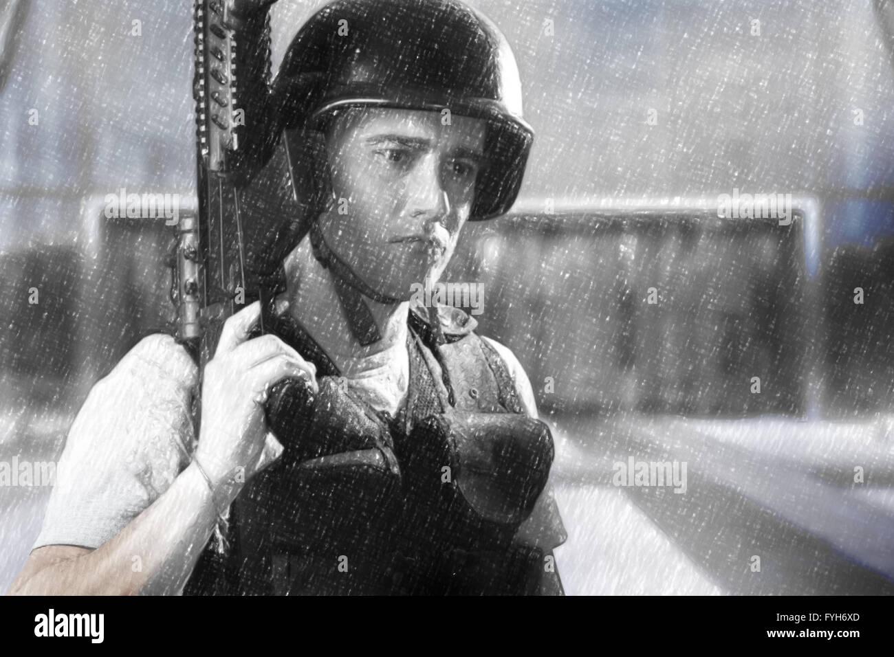 Army man illustration with machine gun - Stock Image