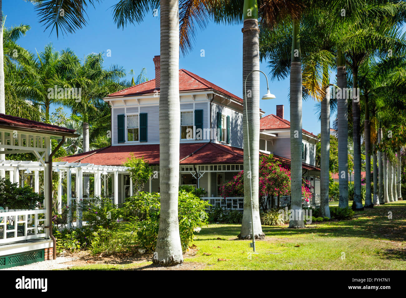 'Seminole Lodge' - winter home of inventor Thomas Edison, Ft Myers, Florida, USA - Stock Image