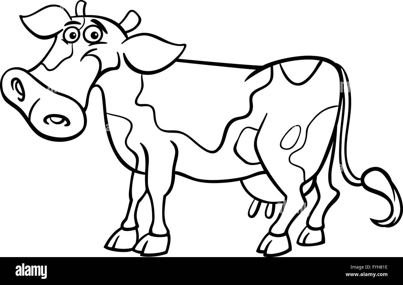 farm cow cartoon for coloring book Stock Photo: 103027050 - Alamy