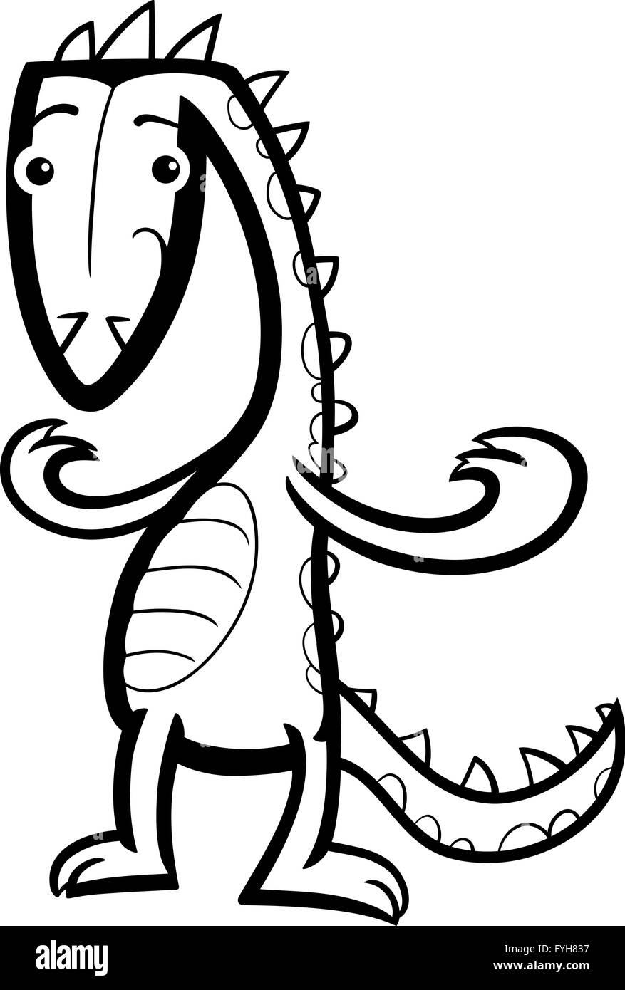 cartoon lizard or dinosaur coloring page - Stock Image