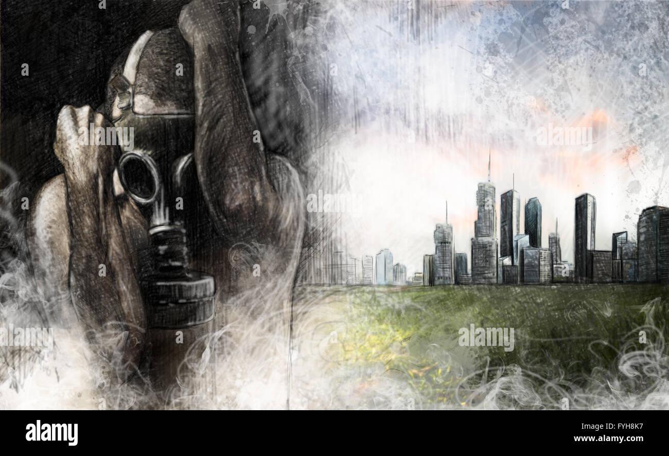 Environment illustration, man with gas mask over dirty city - Stock Image