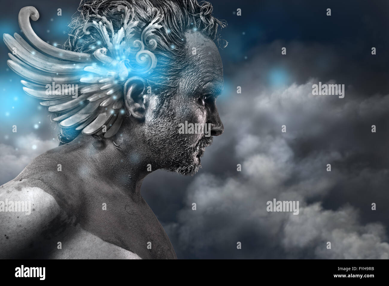 Ancient hero, fantasy image, ancient gods classic style with blue light effects - Stock Image