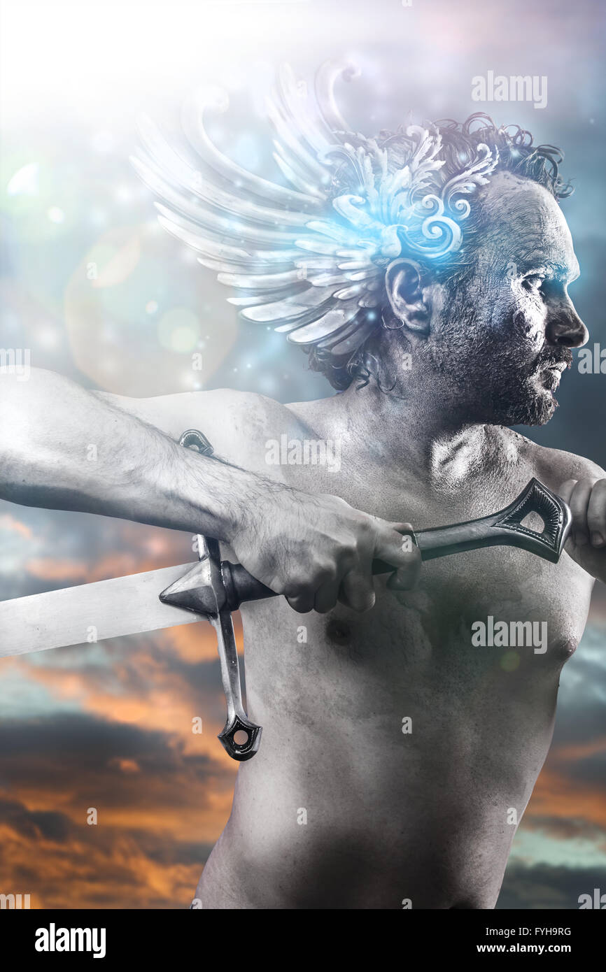 Hero, fantasy image, ancient gods with sword, classic style with blue light effects - Stock Image