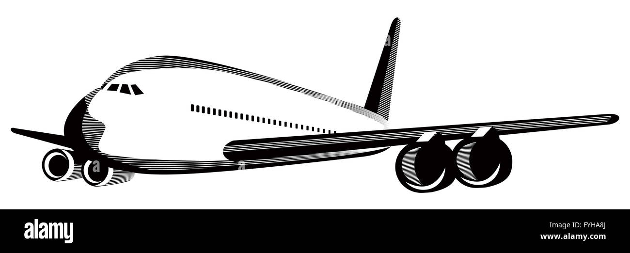 commercial jet plane airliner flying - Stock Image