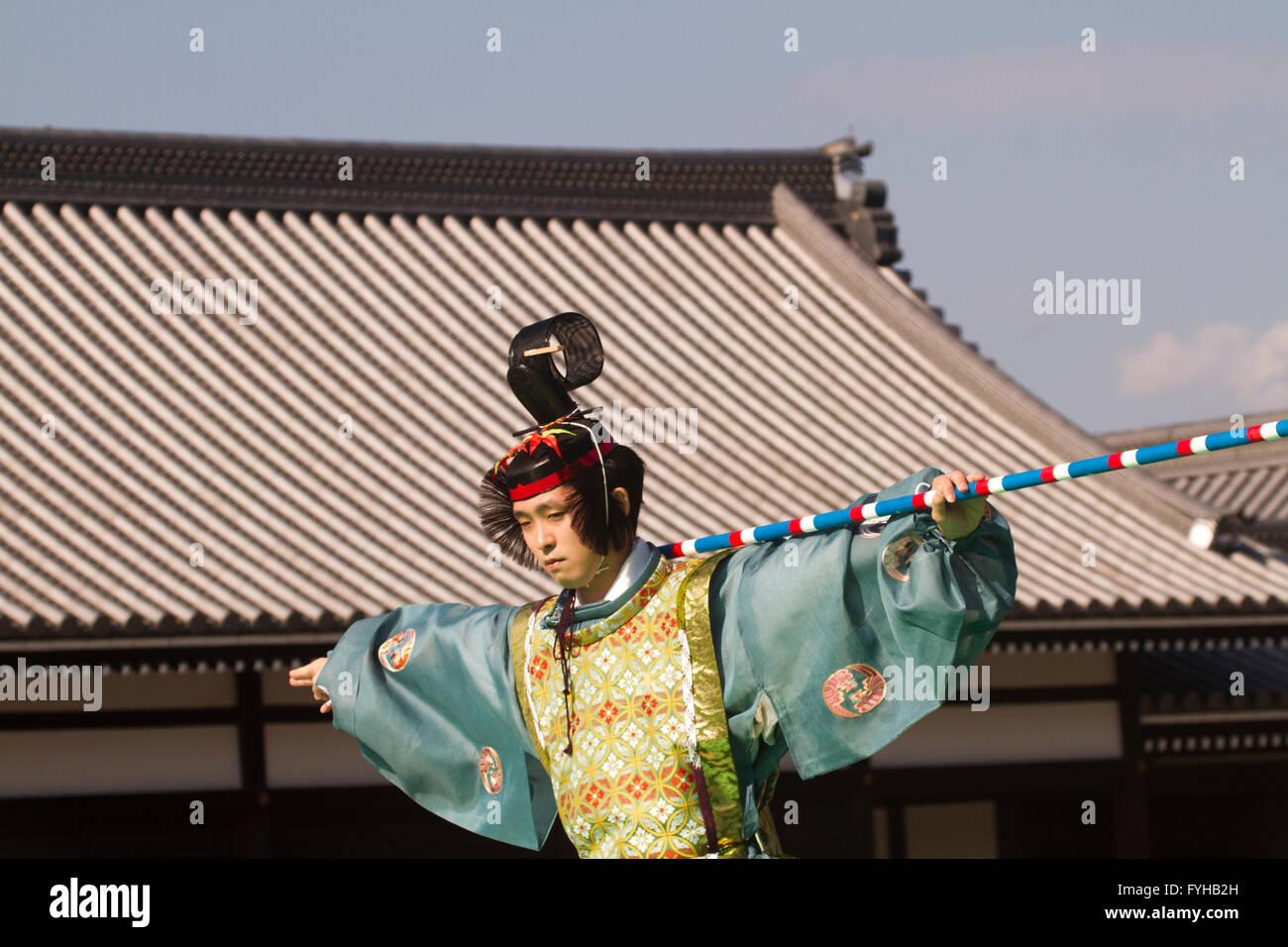 Japan, Kyoto, Imperial Palace, Man wearing traditional Japanese clothing Jidai Matsuri (Festival of Ages) - Stock Image