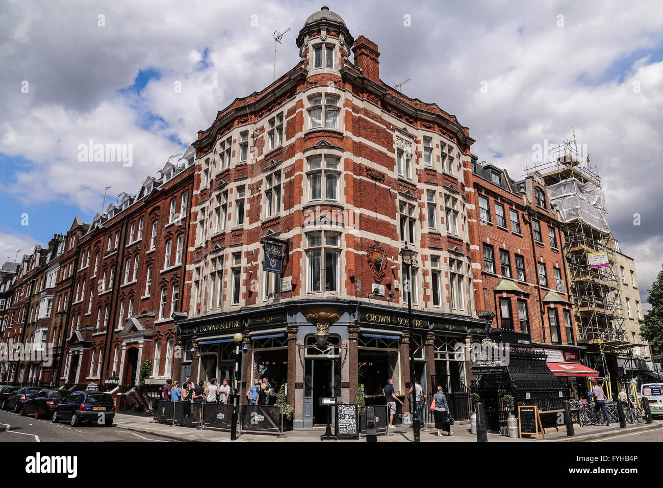 A corner in Fitzrovia with residential houses and The Clachan Pub. Stock Photo