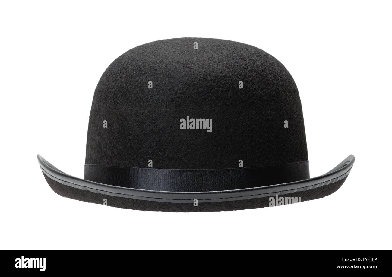 Black Bowler Hat Front View Cut Out on White Background. - Stock Image