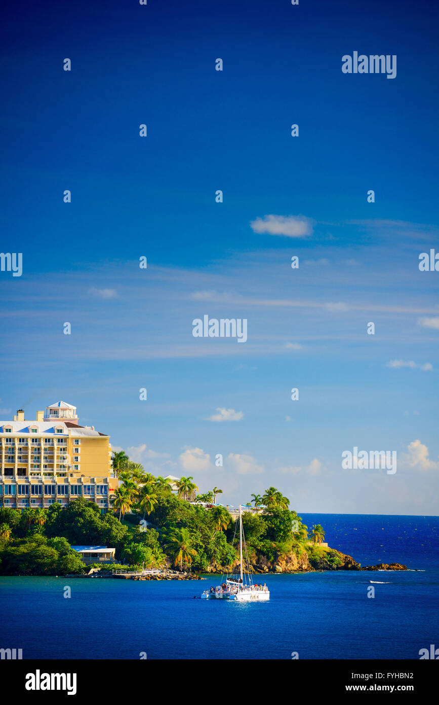 Sunset in St. Thomas from Carnival Cruise Line Ship to Marriott Beach Resort Stock Photo