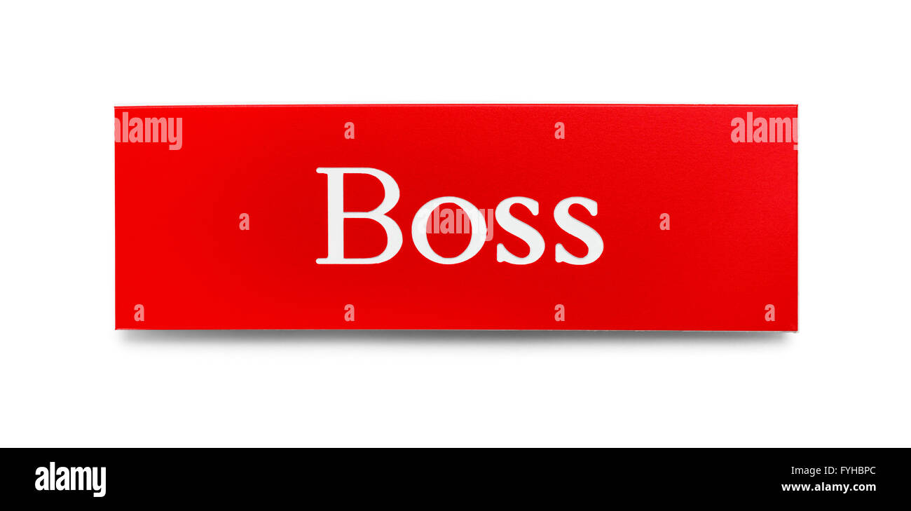 Red and White Boss Plastic Name Pin Isolated on White Background. - Stock Image