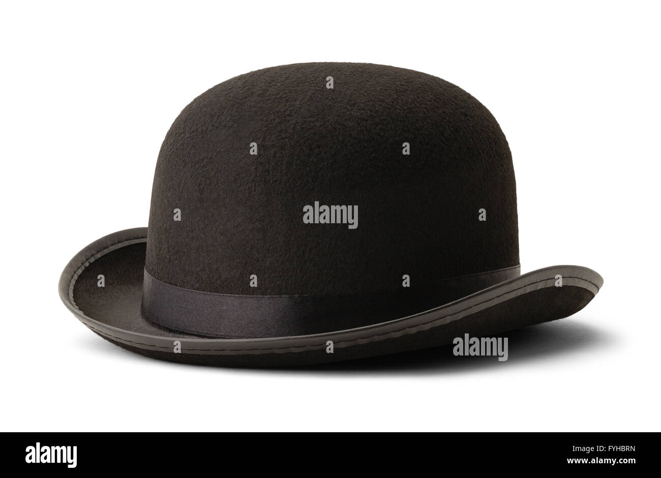 Black Bowler Hat Side View Isolated on White Background. - Stock Image