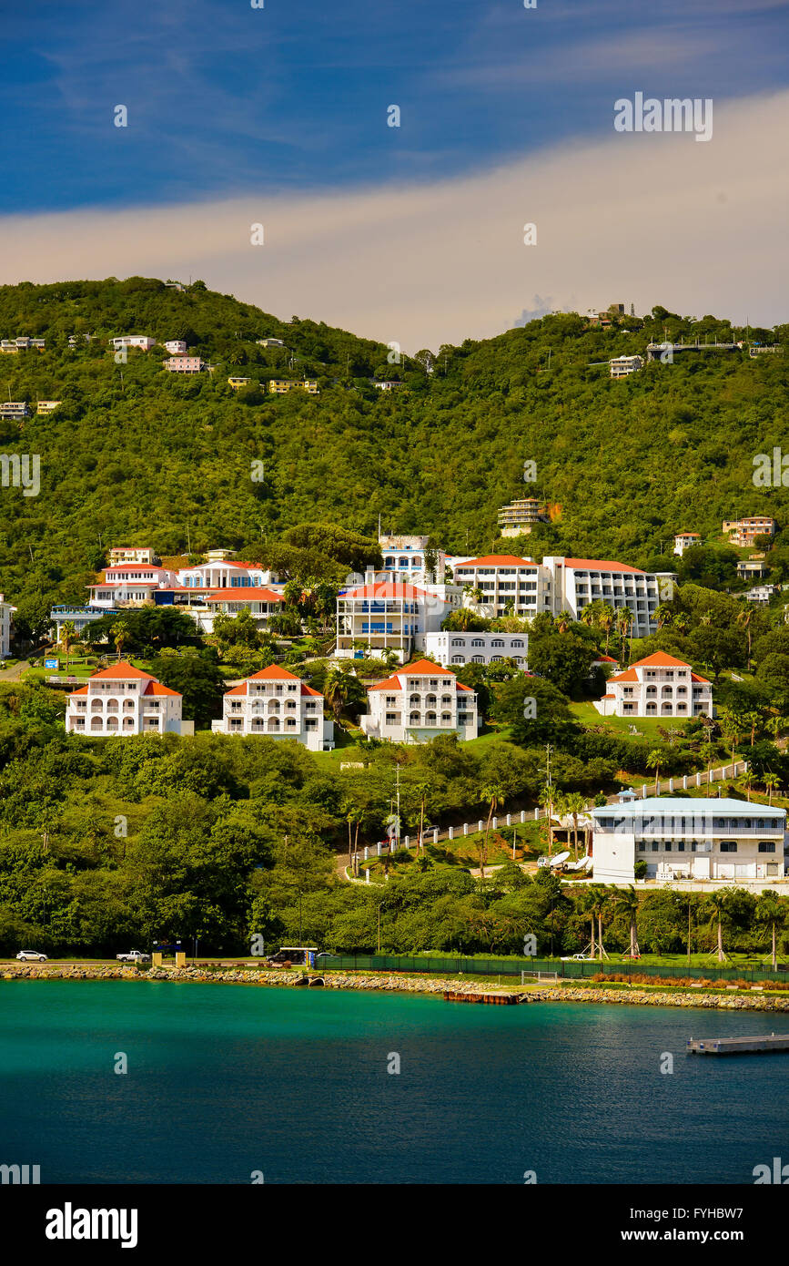 Sunset in St. Thomas from Carnival Cruise Line Ship Stock Photo