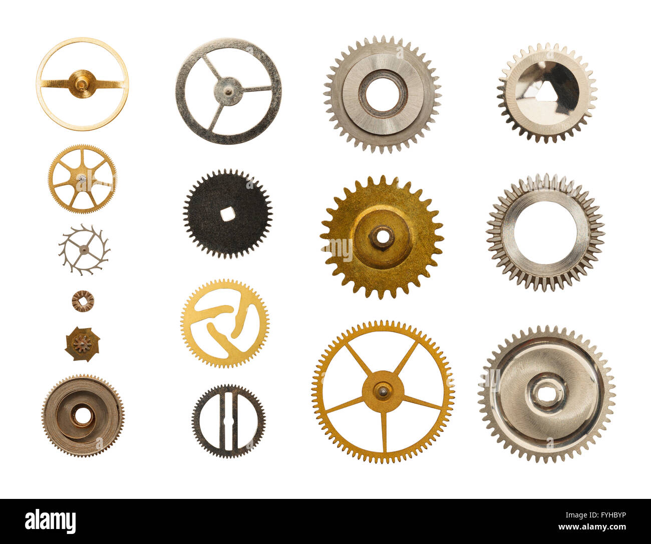 Old Metal Watch Gears Isolated on White Background. - Stock Image