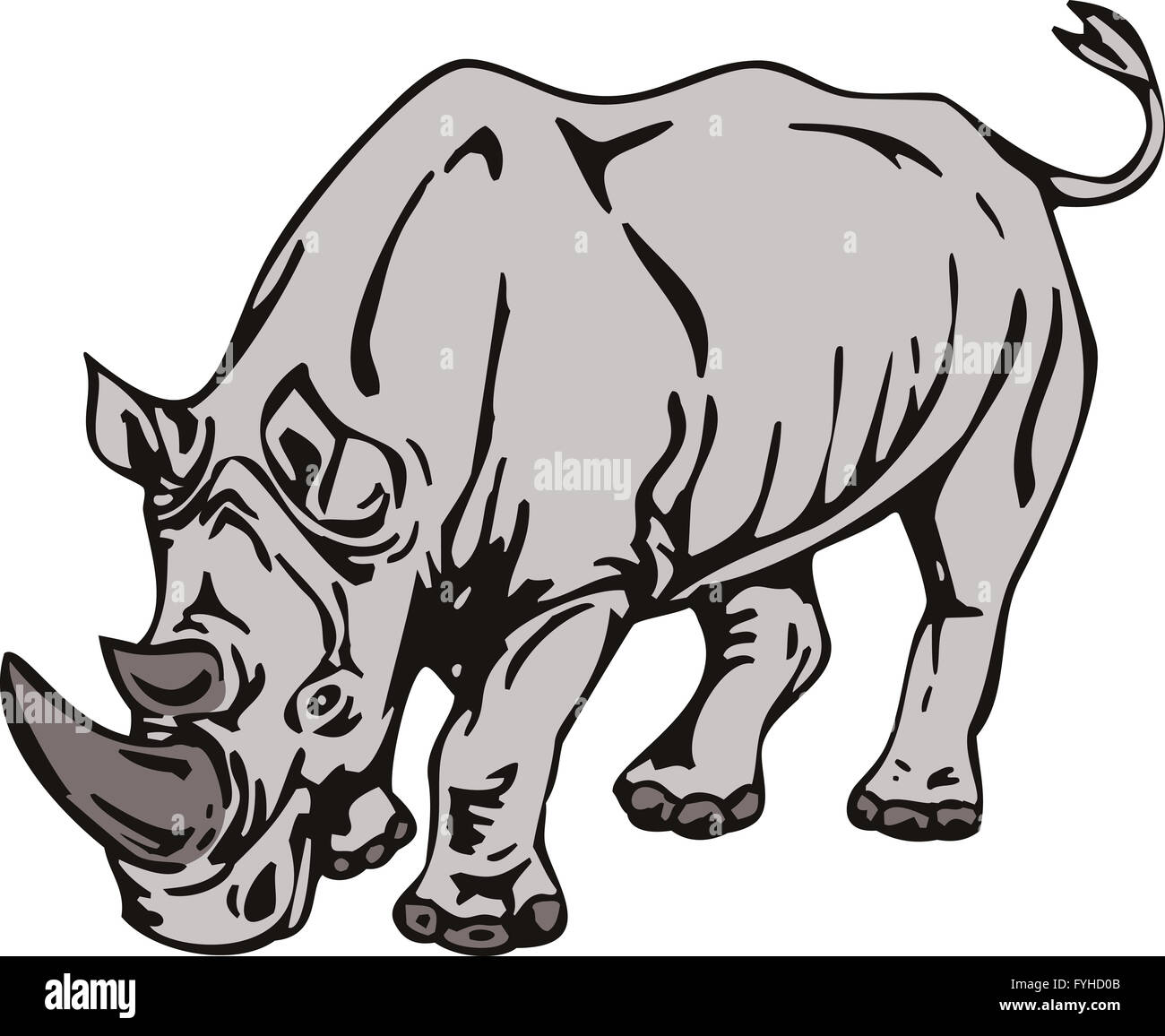 Rhinoceros Charging Side Retro - Stock Image