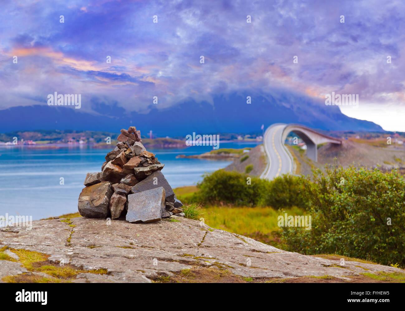 Fantastic bridge on the Atlantic road in Norway - Stock Image