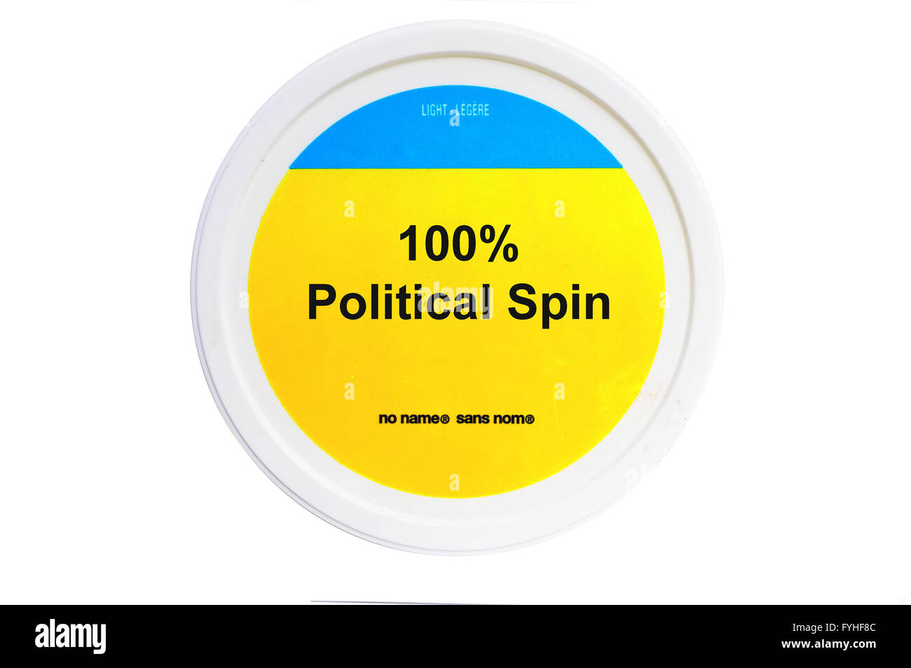 A tub with 100% Political Spin written on the label photographed against a white background. - Stock Image