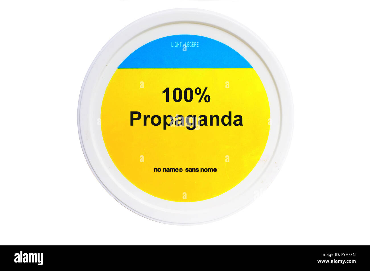 A tub with 100% Propaganda written on the label photographed against a white background. - Stock Image