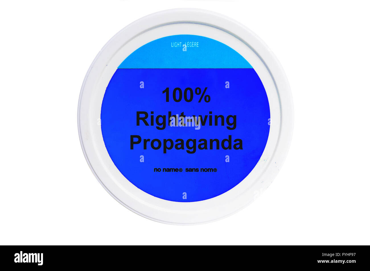 A tub with 100% Right-wing propaganda written on the label photographed against a white background. - Stock Image