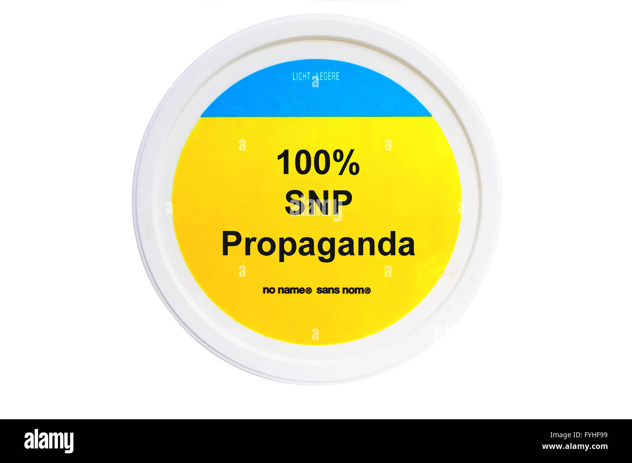 A tub with 100% SNP Propaganda written on the label photographed against a white background. - Stock Image