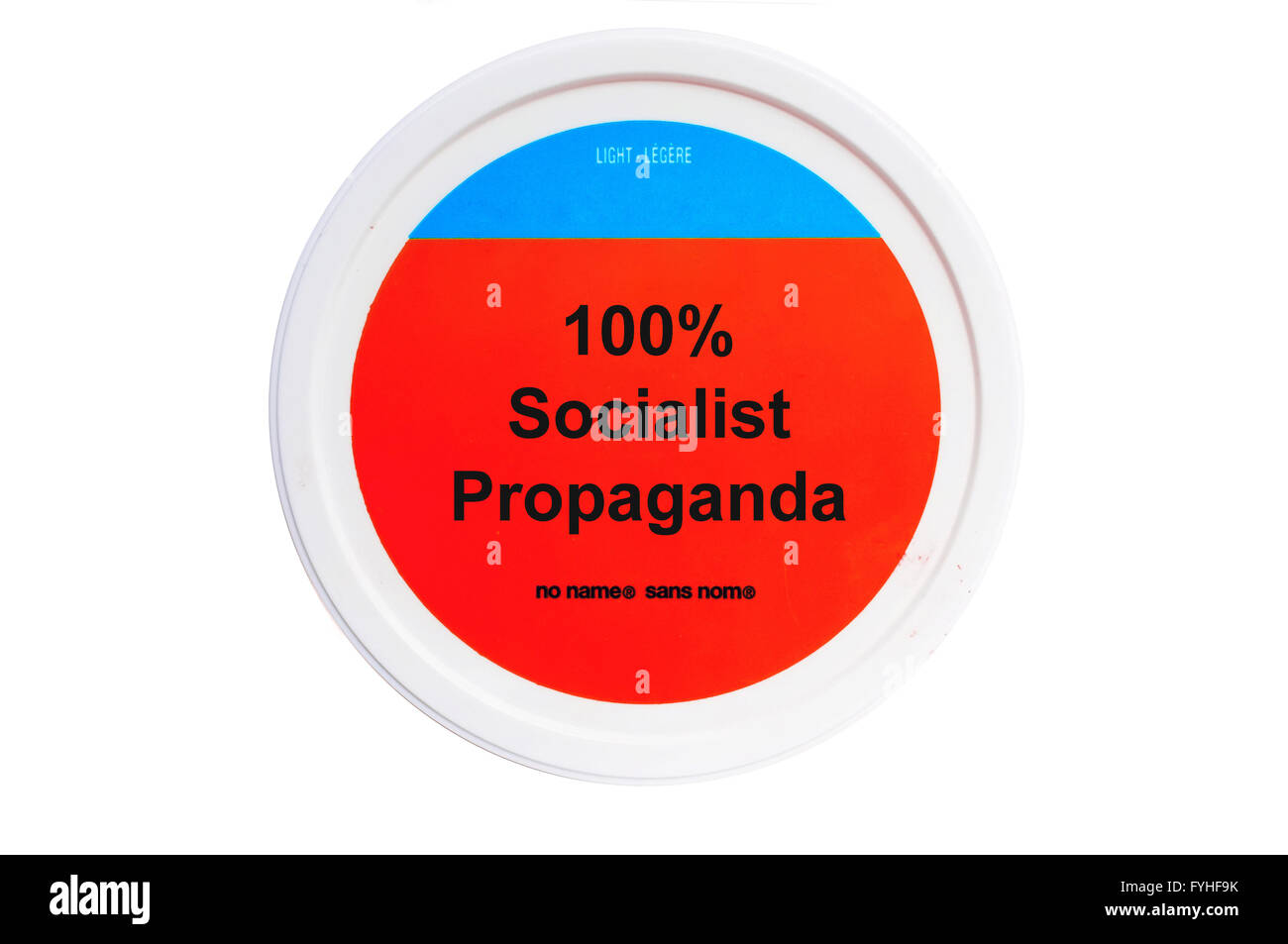 A tub with 100% Socialist Propaganda written on the label photographed against a white background. - Stock Image
