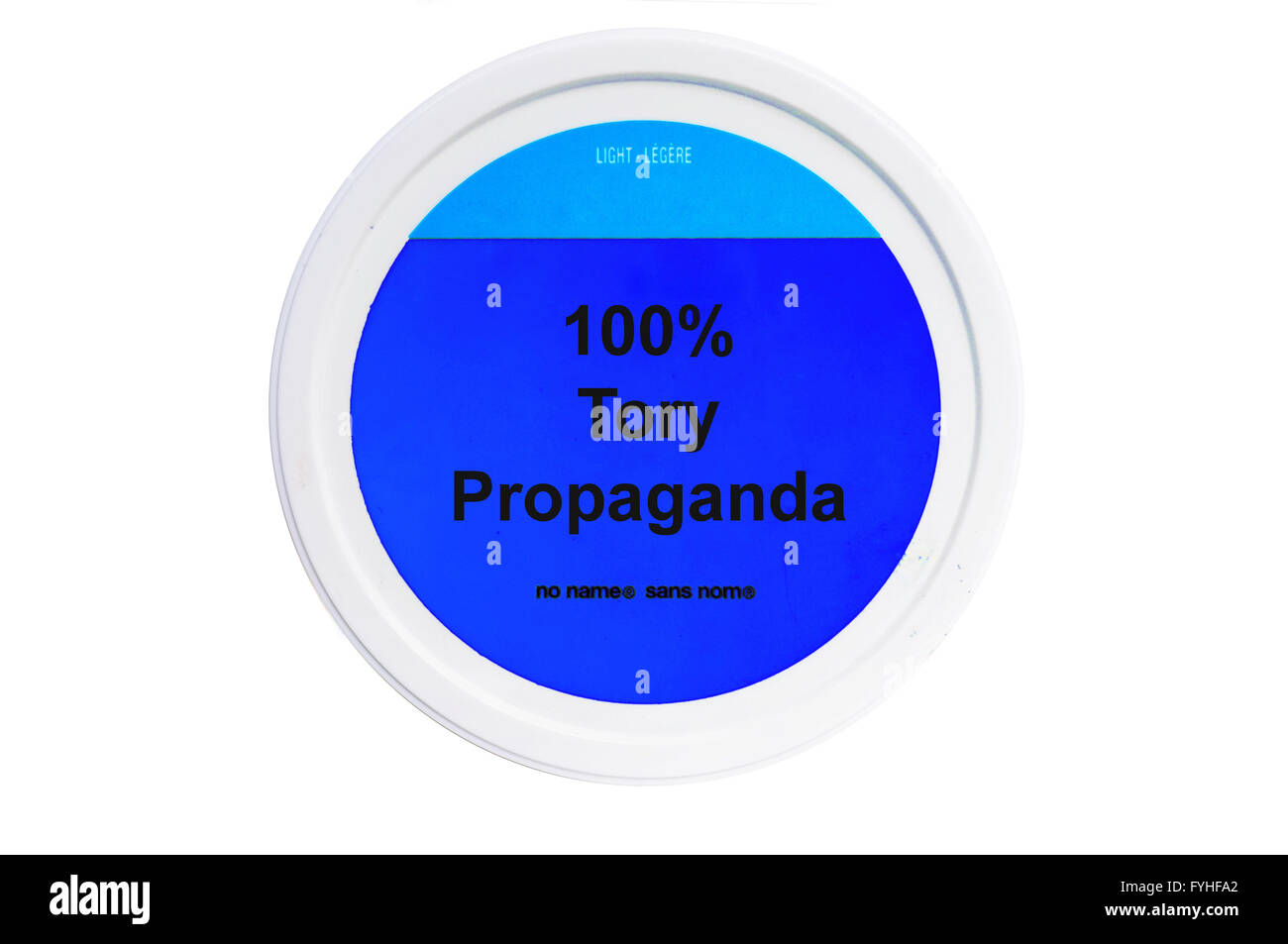 A tub with 100% Tory Propaganda written on the label photographed against a white background. - Stock Image