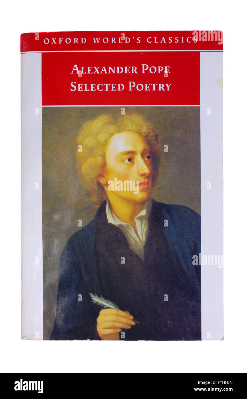 The front cover of Selected Poetry by Alexander Pope photographed against a white background. - Stock Image