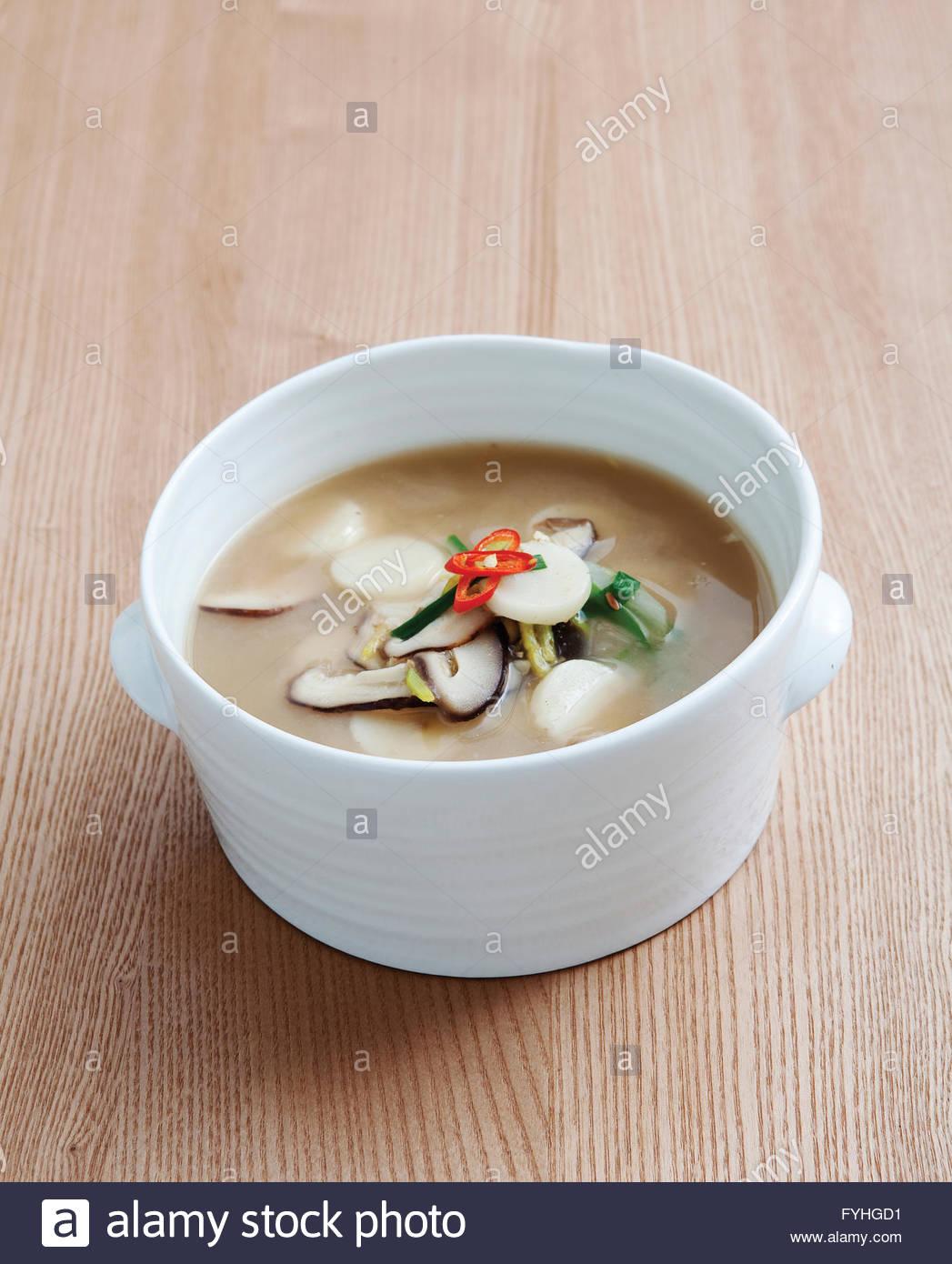 Mushroom Rice Cake Soup Bean Paste Stock Photos & Mushroom