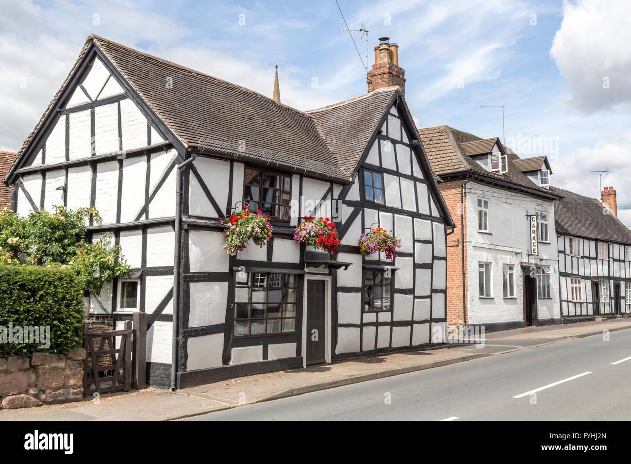 Tudor houses, Ombersley, Worcestershire, England, UK - Stock Image