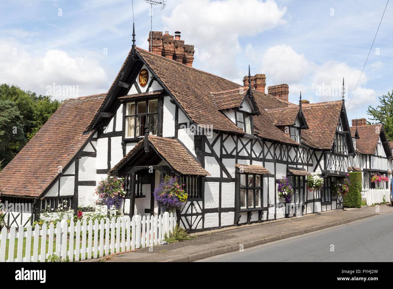 Tudor house, Ombersley, Worcestershire, England, UK - Stock Image