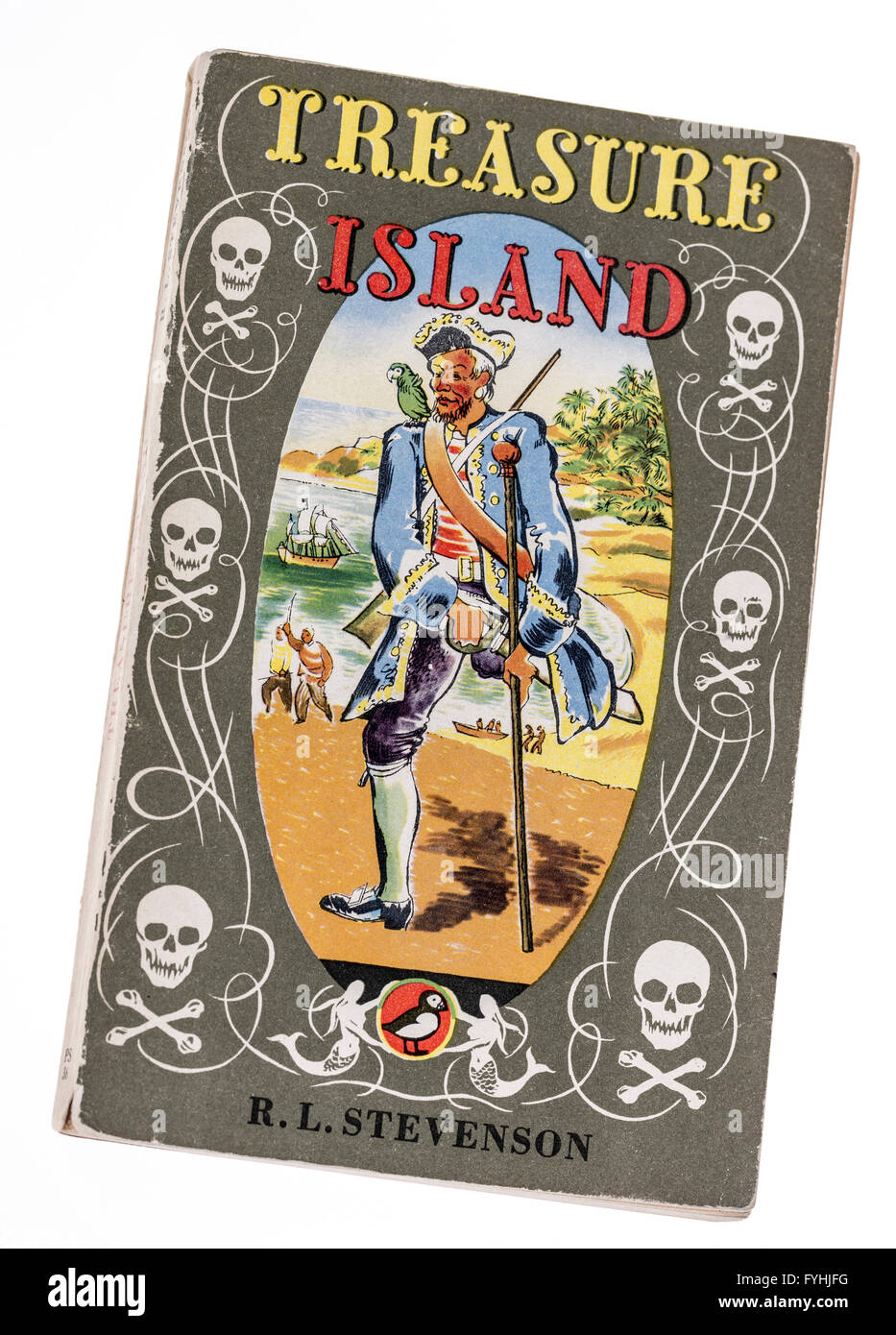 Treasure Island book cover by Robert Louis Stevenson published by Puffin - Stock Image