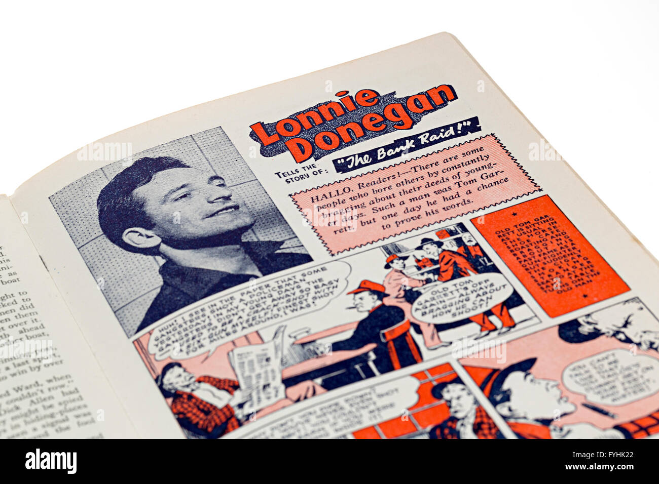 Lonnie Donegan comic book story for children, published in 1960 UK - Stock Image