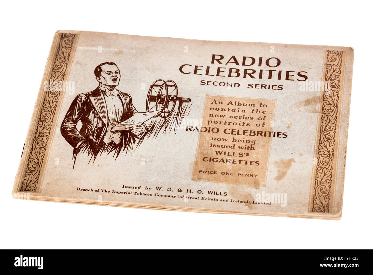 Wills cigarette card book of Radio Celebrities - Stock Image